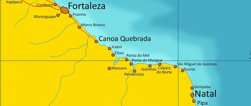 Map of North East Brazil.
