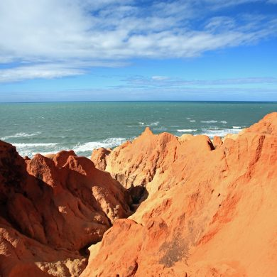 Ocher cliffs of the Nordeste coast in Brazil.