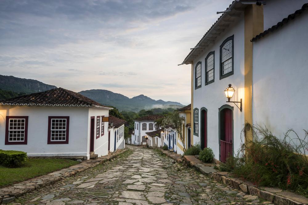 Dimly lit Tiradentes at dusk, Minas Gerais.