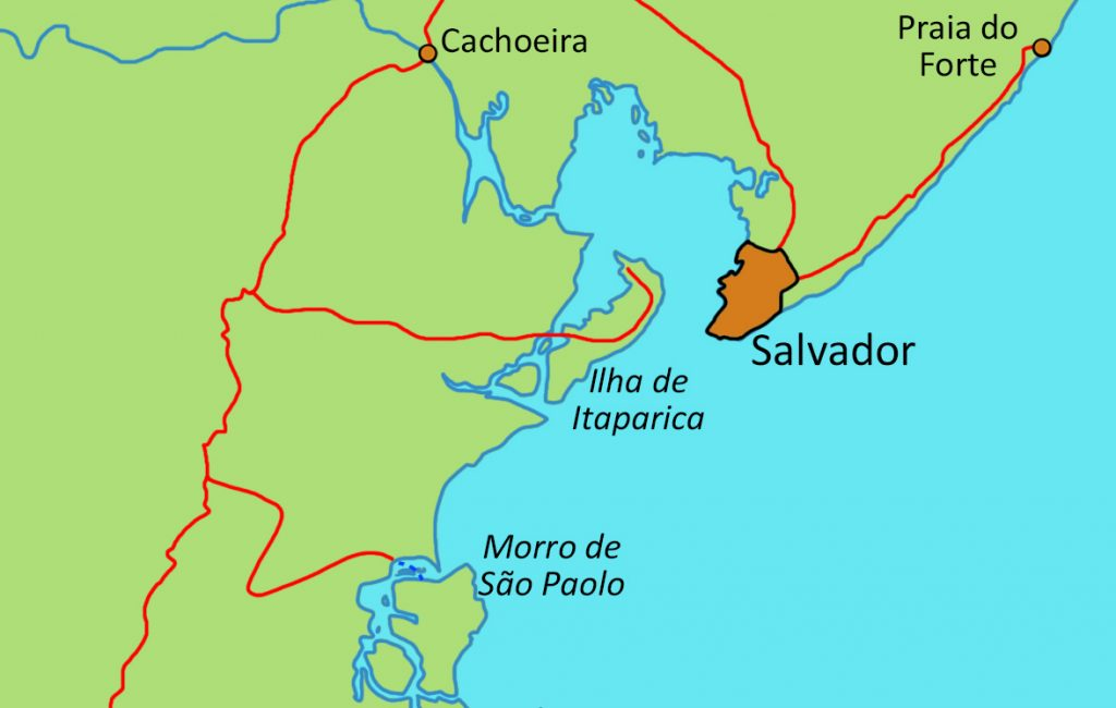 Map of the coastal region of Bahia.