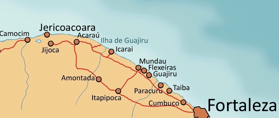 Map of the Northeast coast from Fortaleza to Jericoacoara.