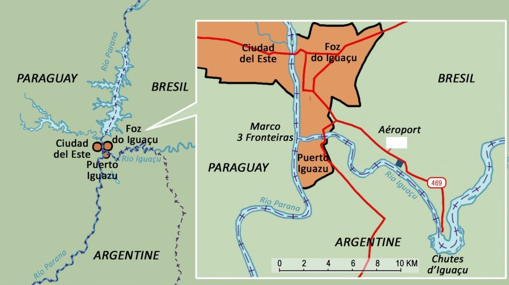 Map showing the border between Brazil and Argentina at Iguassu.