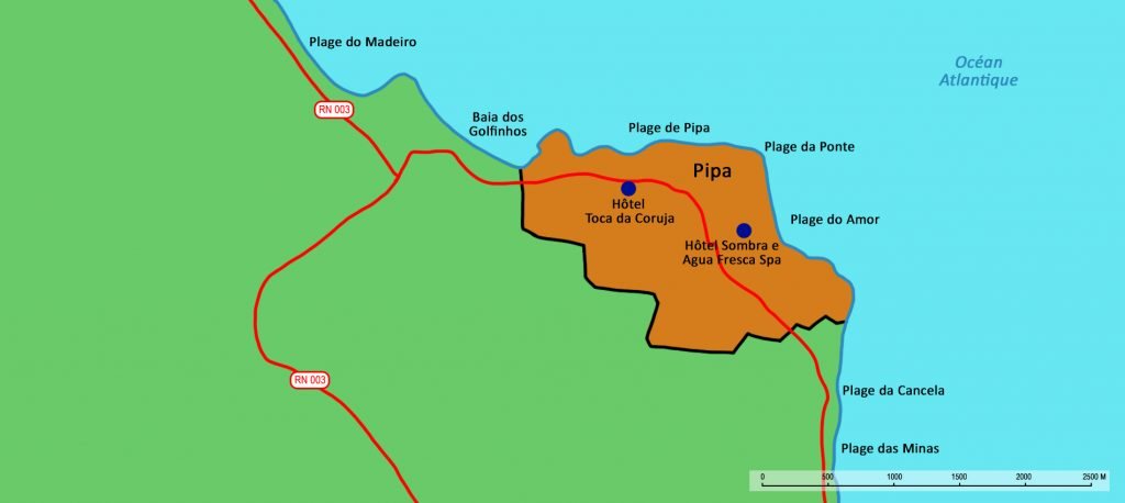 Pipa on the map of the Brazilian coast.