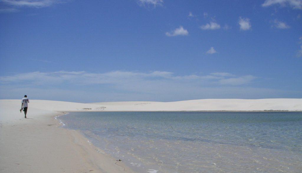 Wandering barefoot in the Lençóis do Maranhão.