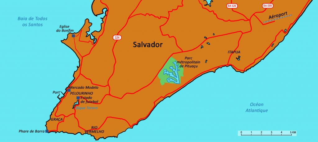 Map showing the location of Salvador in Bahia.