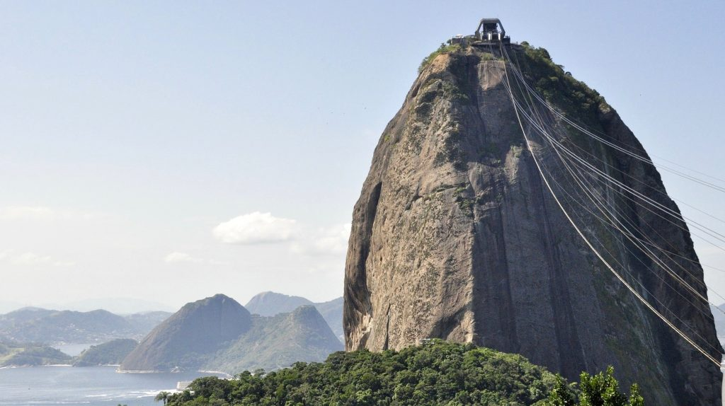 A cable car going to sugarloaf mountain in Rio de Janeiro.