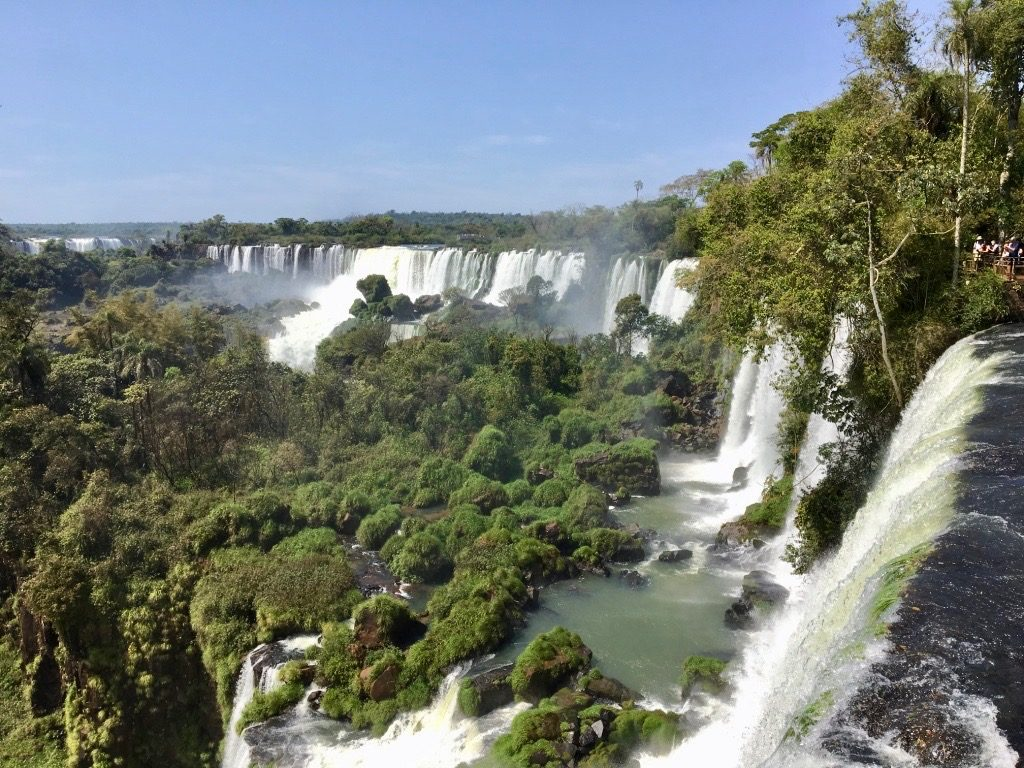 Aerial view of the mighty Iguaçu falls, one of our main Brazil tourist attractions.