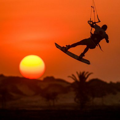 Kitesurf sunset background.