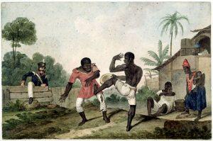Slaves playing capoeira.