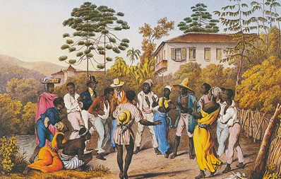A painting depicting people dancing Samba in colonial times.