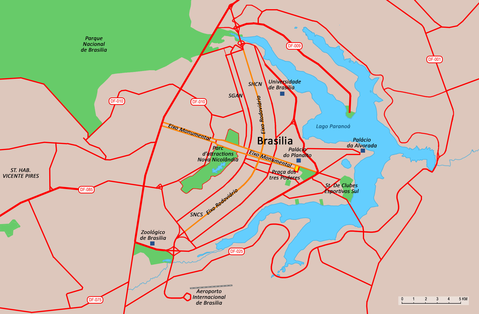 A map of the center of Brasilia.