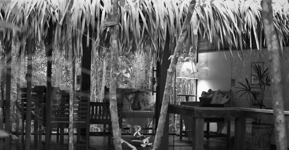 Black and white of lounge in Anavilhanas lodge.