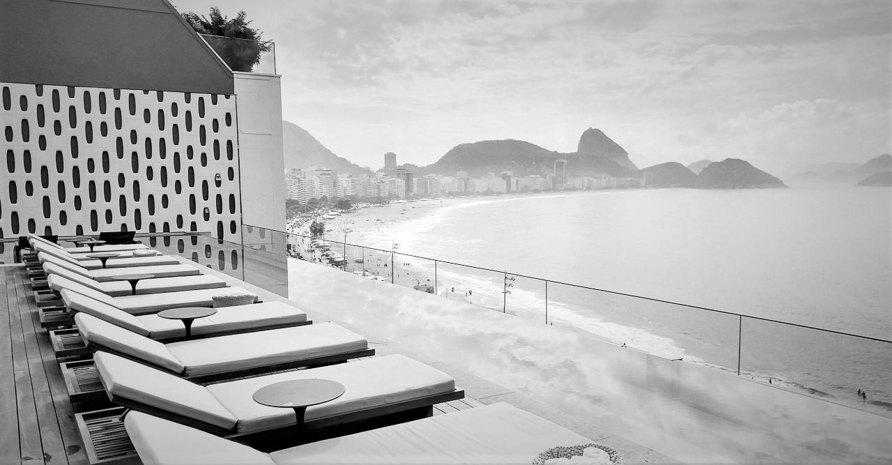 Outside the hotel Emiliano in Rio de Janeiro.