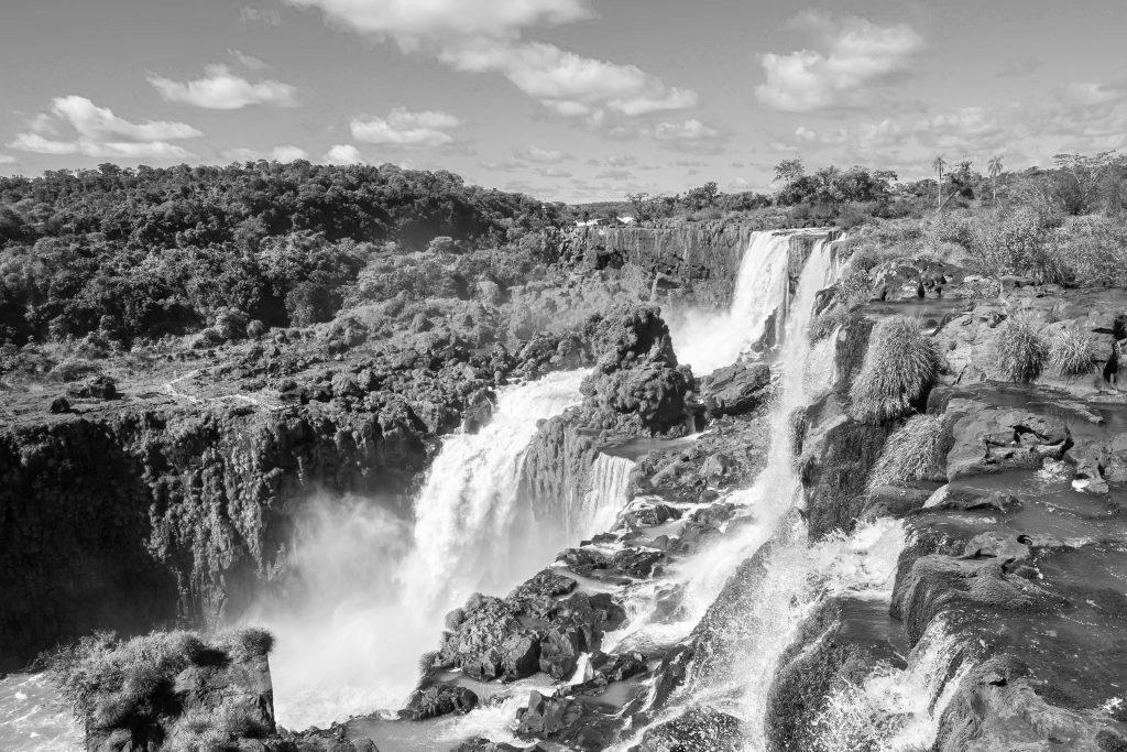 View of Iguaçu falls. Black and White.