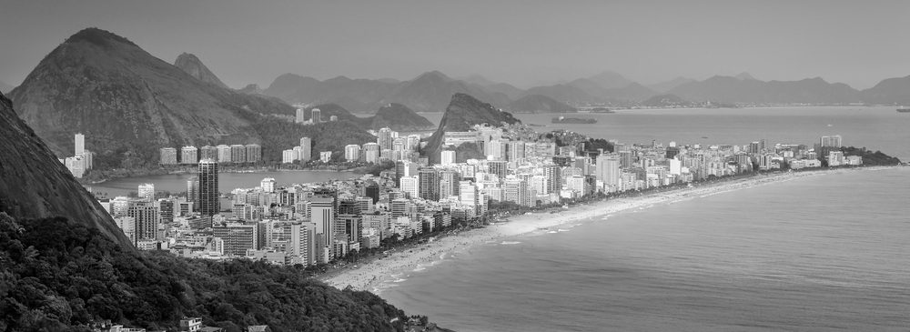 Beach in Rio from above. Black and White.
