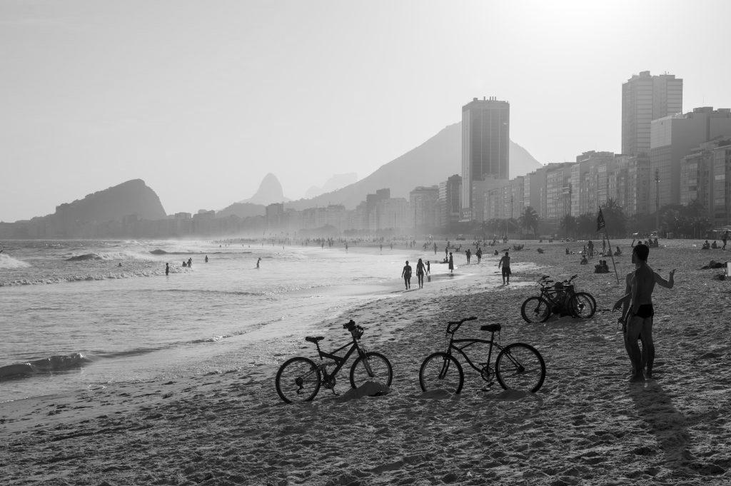Black and White of Leme beach in Rio.