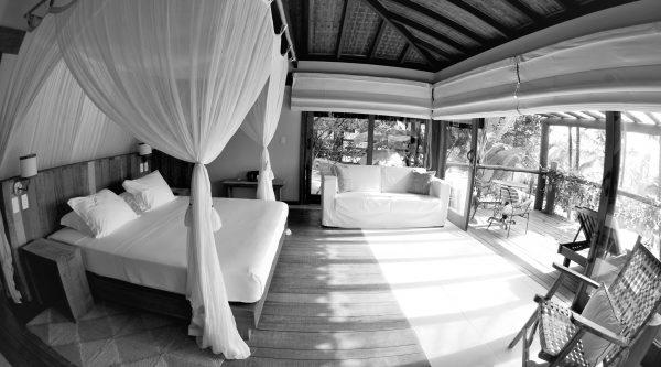 Room in Txai resort, last stop of the honeymoon in Brazil. Black and White.