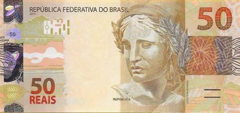 Front of 50 Reals, banknote of Brazilian currency.