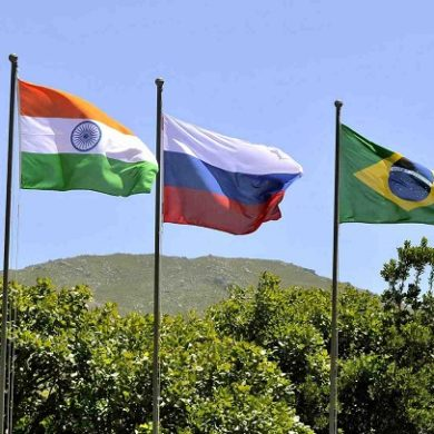 "Flags showing ""BRICS"" countries."