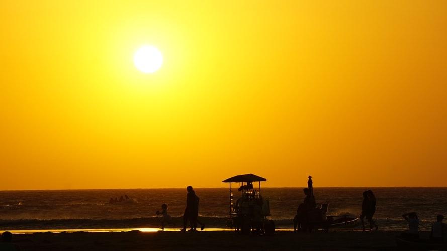 Sunset on the beach of Jericoacoara.